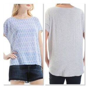 Two by Vince Camuto Blue/White Ikat Star Blouse
